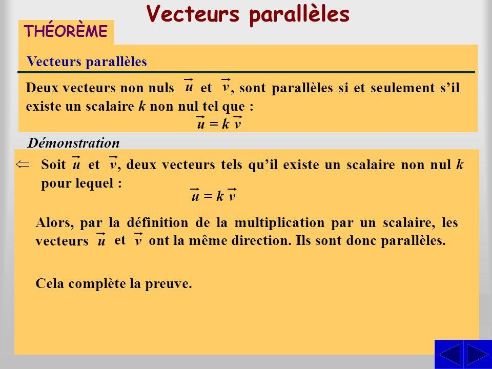 Vecteurs parallèles S S THÉORÈME Vecteurs parallèles