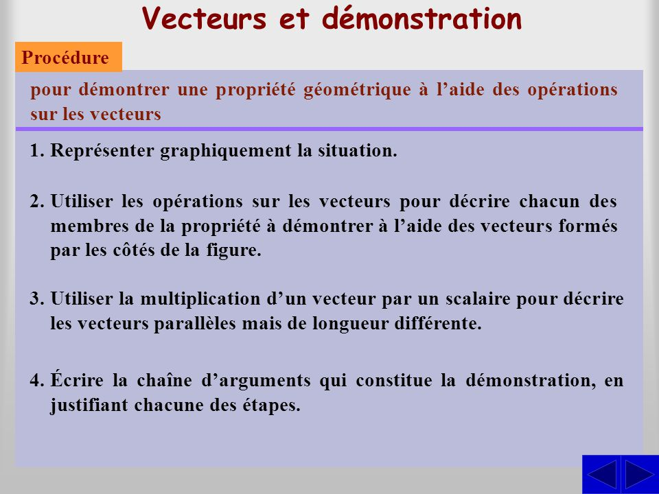 Vecteurs et démonstration