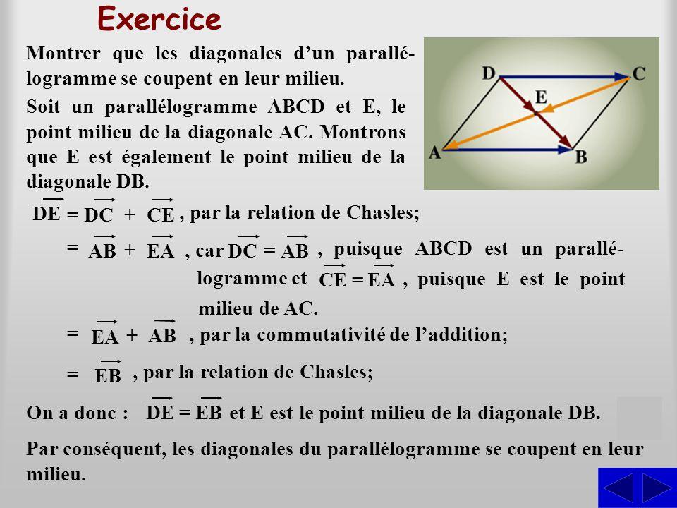 Exercice Montrer que les diagonales d'un parallé-logramme se coupent en leur milieu.
