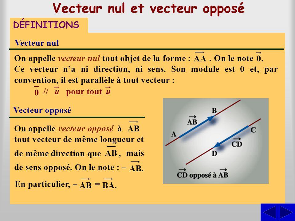 Vecteur nul et vecteur opposé