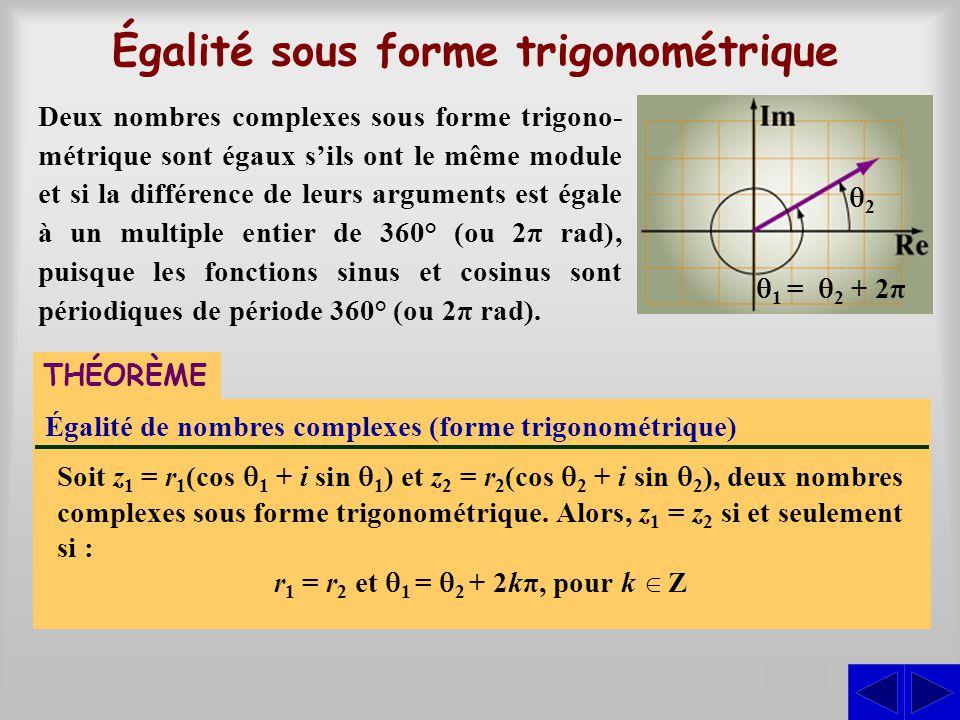 Égalité sous forme trigonométrique