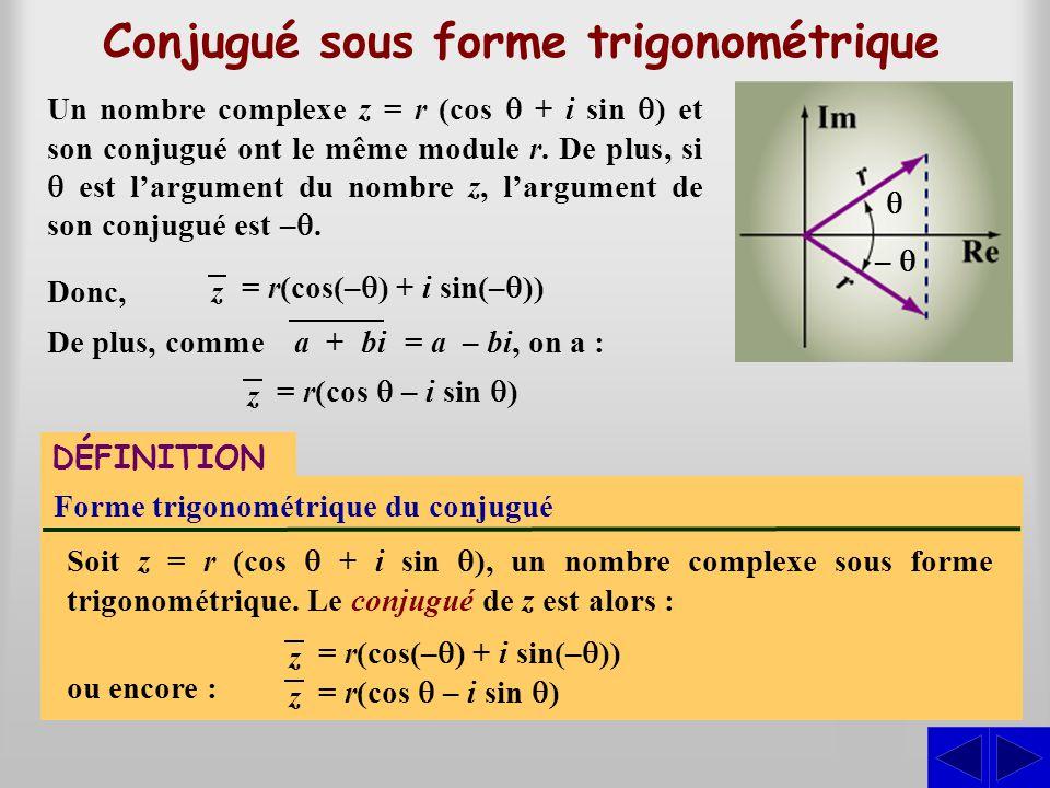 Conjugué sous forme trigonométrique