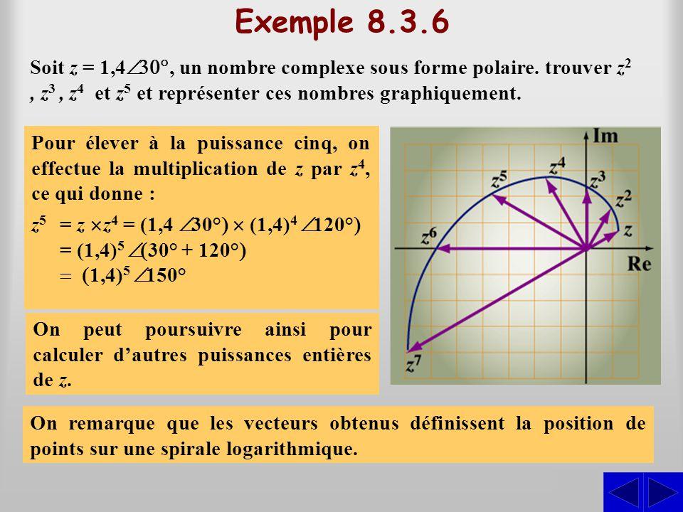 Exemple 8.3.6 Soit z = 1,4Ð30°, un nombre complexe sous forme polaire. trouver z2 , z3 , z4 et z5 et représenter ces nombres graphiquement.