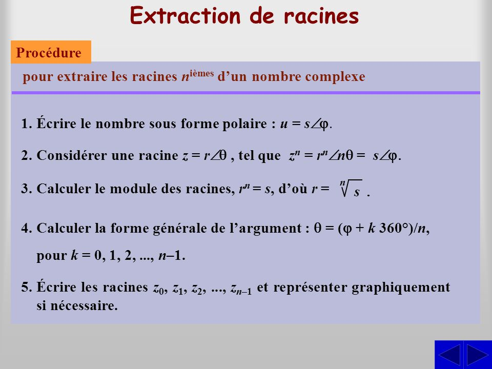 Extraction de racines Procédure