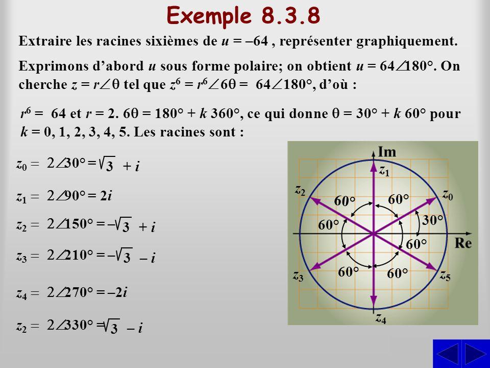 Exemple 8.3.8 Extraire les racines sixièmes de u = –64 , représenter graphiquement.