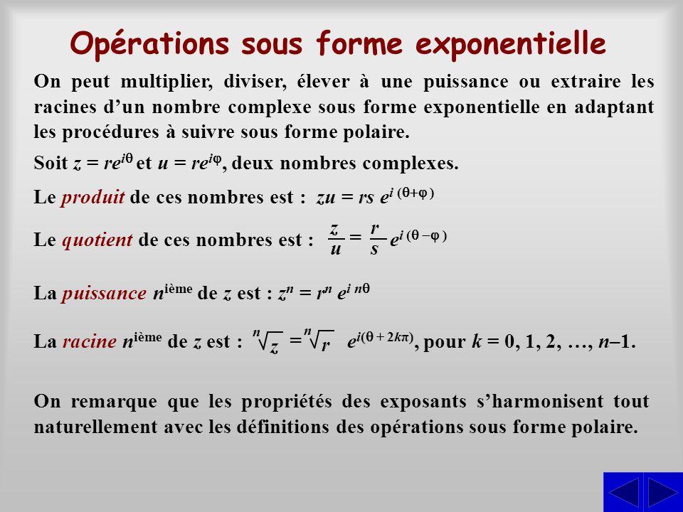 Opérations sous forme exponentielle
