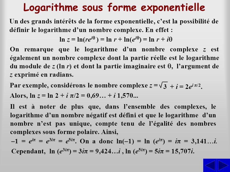 Logarithme sous forme exponentielle