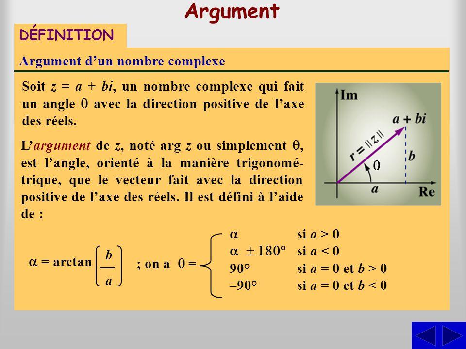 Argument DÉFINITION Argument d'un nombre complexe