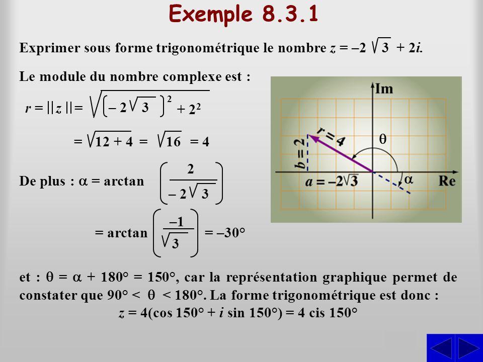 Exemple 8.3.1 S Exprimer sous forme trigonométrique le nombre z = –2
