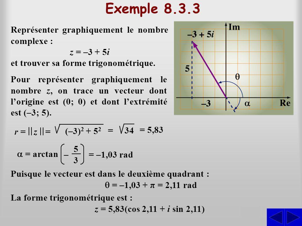 Exemple 8.3.3 S S Représenter graphiquement le nombre complexe :