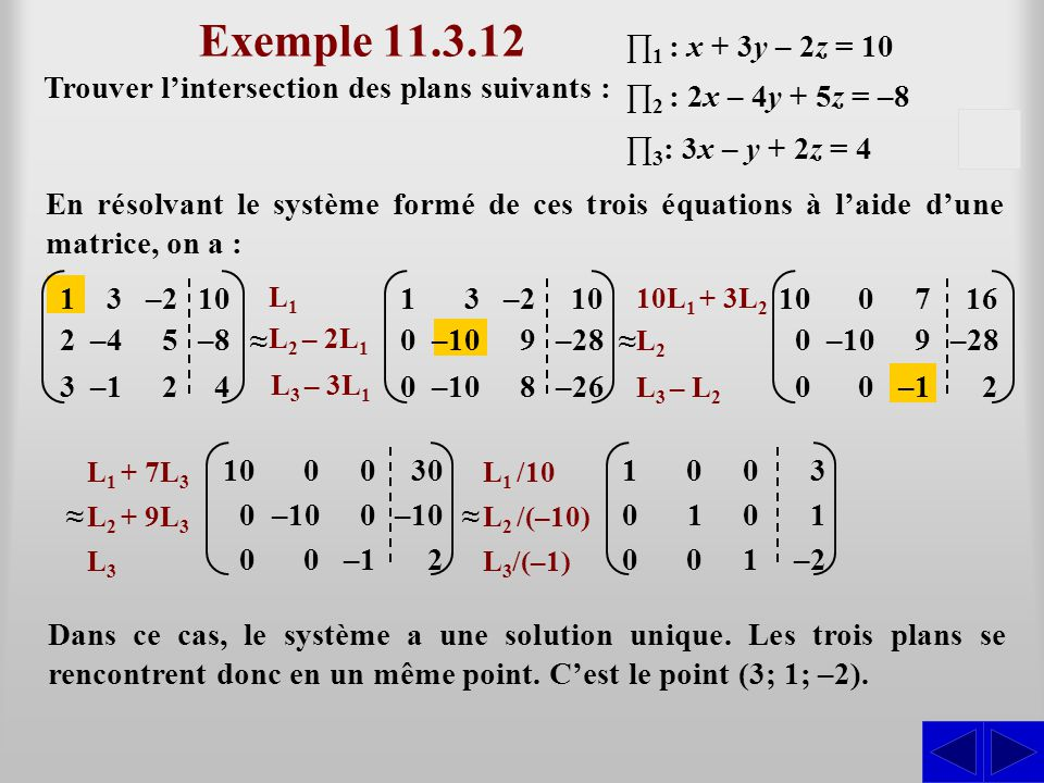 Exemple 11.3.12 ∏1 : x + 3y – 2z = 10. Trouver l'intersection des plans suivants : ∏2 : 2x – 4y + 5z = –8.