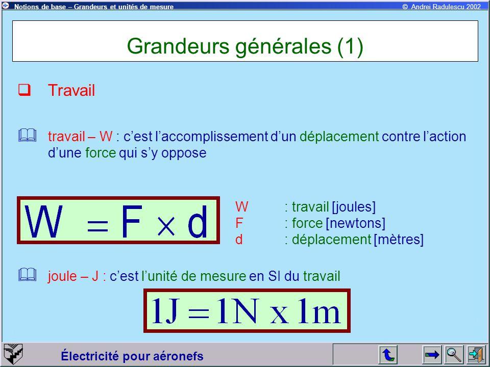 Grandeurs générales (1)