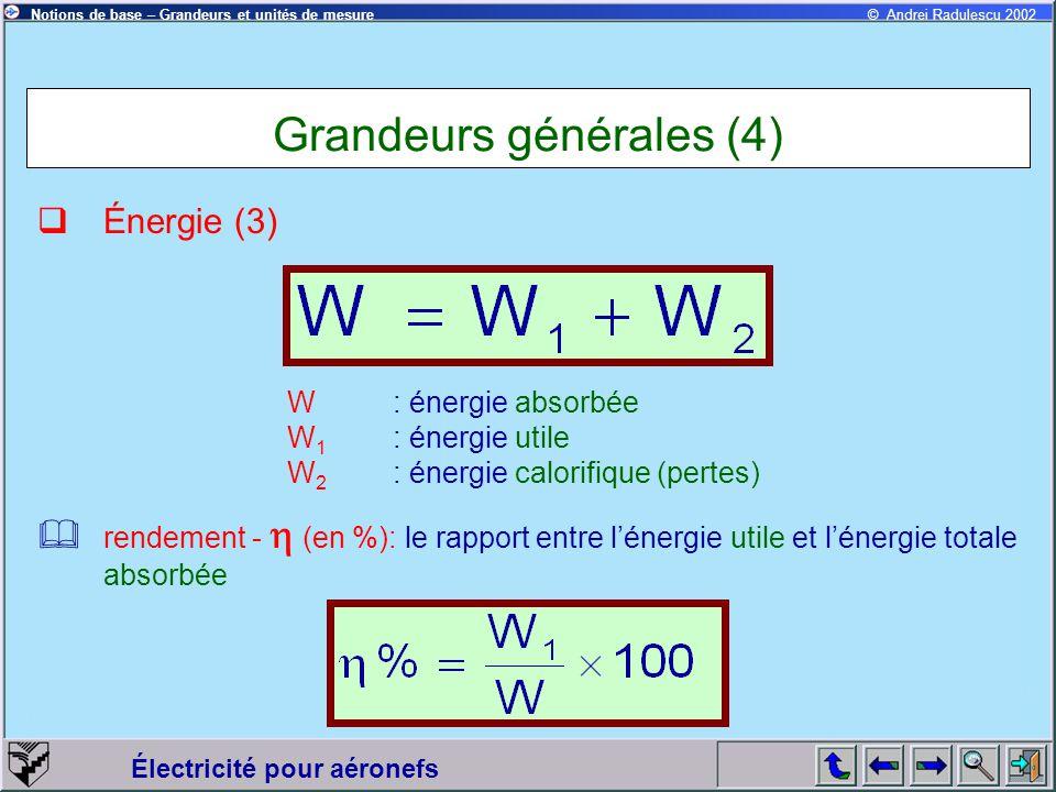 Grandeurs générales (4)