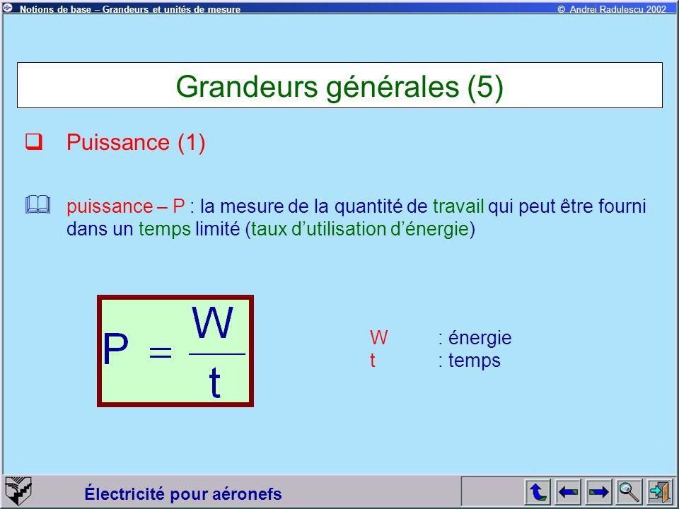 Grandeurs générales (5)