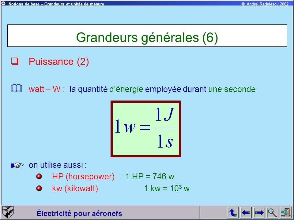 Grandeurs générales (6)