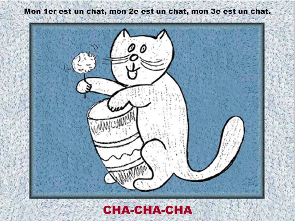Mon 1er est un chat, mon 2e est un chat, mon 3e est un chat.