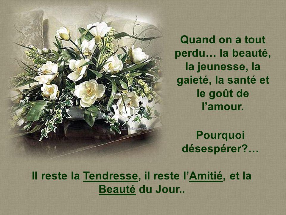 Il reste la Tendresse, il reste l'Amitié, et la Beauté du Jour..