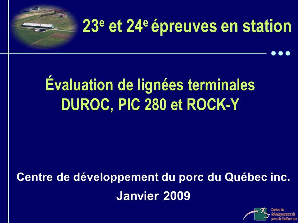Évaluation de lignées terminales DUROC, PIC 280 et ROCK-Y