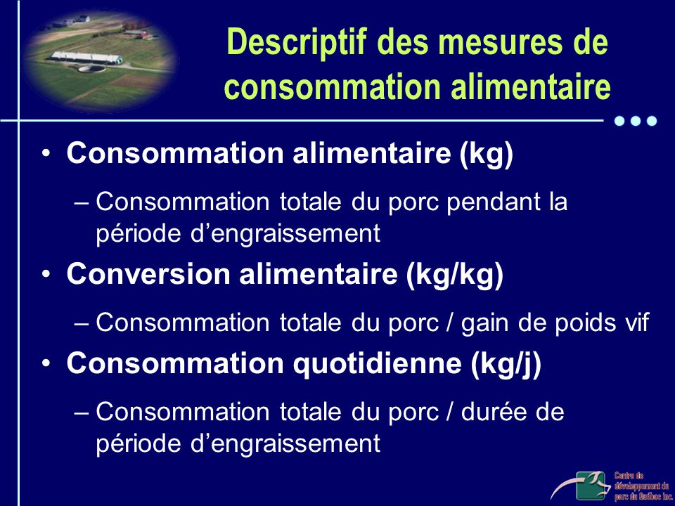 Descriptif des mesures de consommation alimentaire