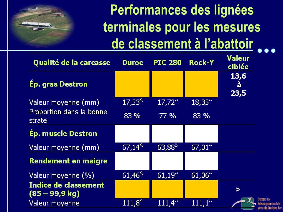 Performances des lignées terminales pour les mesures de classement à l'abattoir