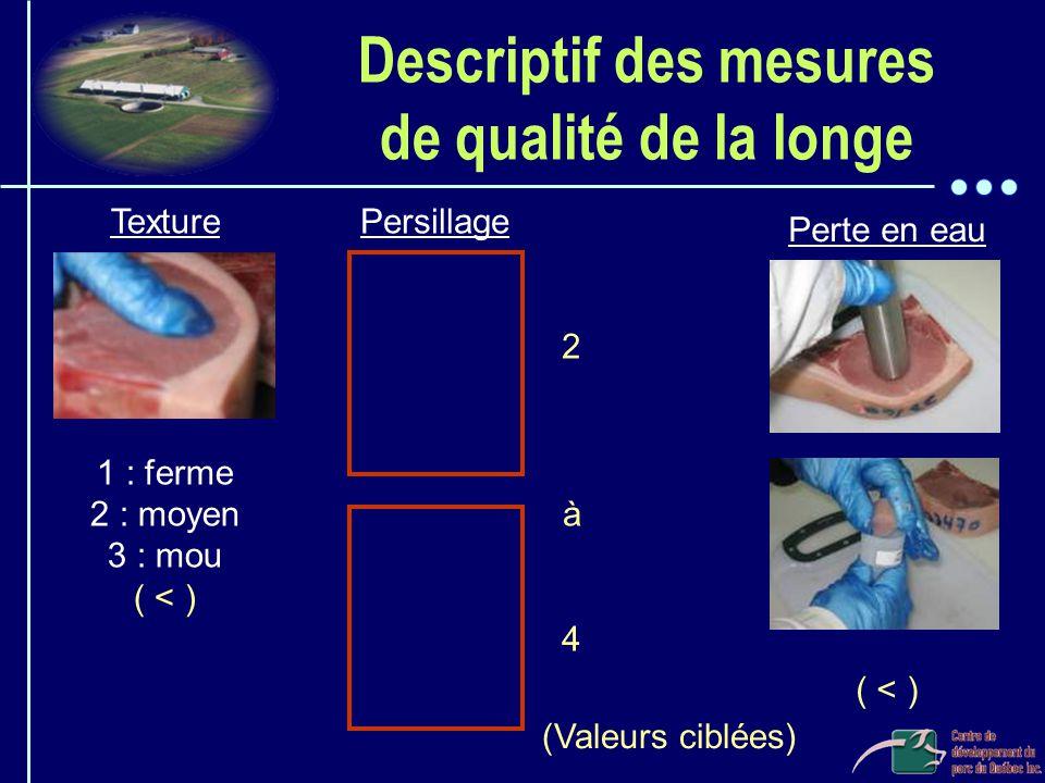 Descriptif des mesures de qualité de la longe