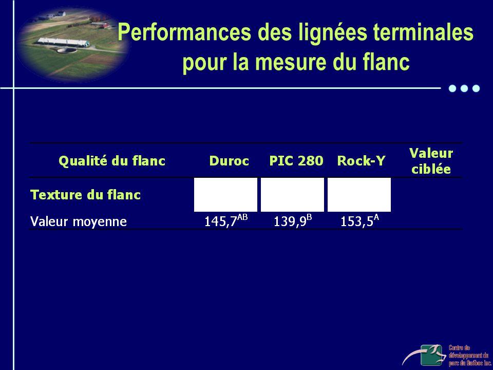 Performances des lignées terminales pour la mesure du flanc
