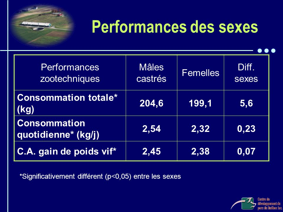Performances des sexes