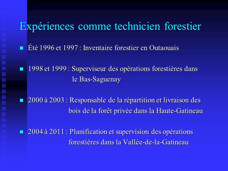 Expériences comme technicien forestier