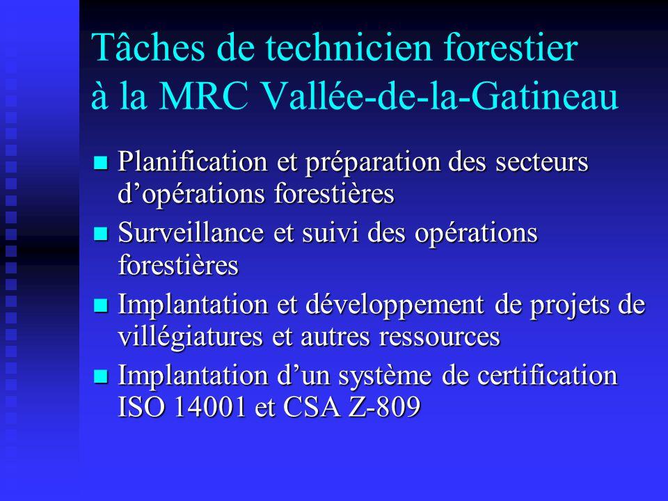 Tâches de technicien forestier à la MRC Vallée-de-la-Gatineau