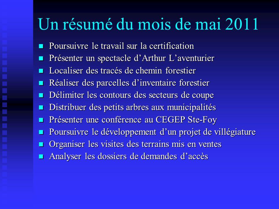 Un résumé du mois de mai 2011 Poursuivre le travail sur la certification. Présenter un spectacle d'Arthur L'aventurier.