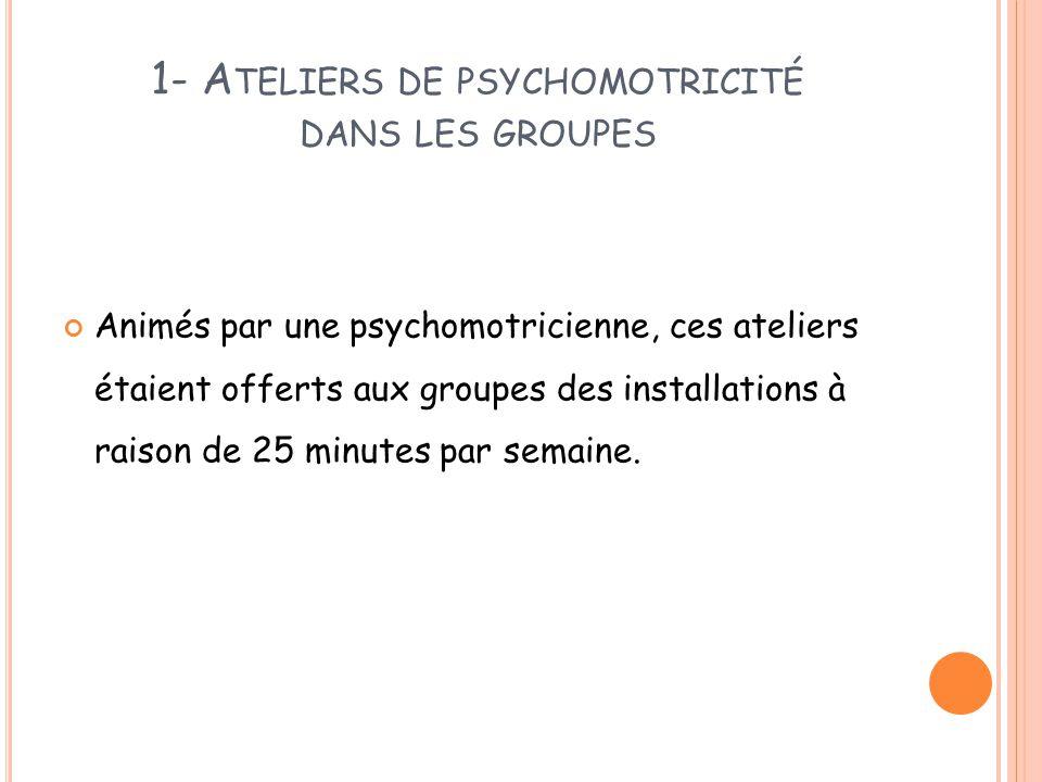 1- Ateliers de psychomotricité dans les groupes