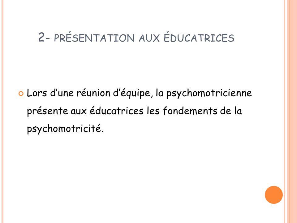 2- présentation aux éducatrices