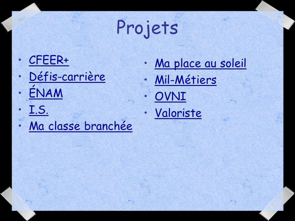 Projets CFEER+ Ma place au soleil Défis-carrière Mil-Métiers ÉNAM OVNI