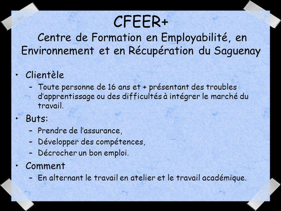 CFEER+ Centre de Formation en Employabilité, en Environnement et en Récupération du Saguenay