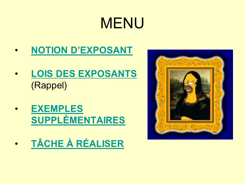 MENU NOTION D'EXPOSANT LOIS DES EXPOSANTS (Rappel)