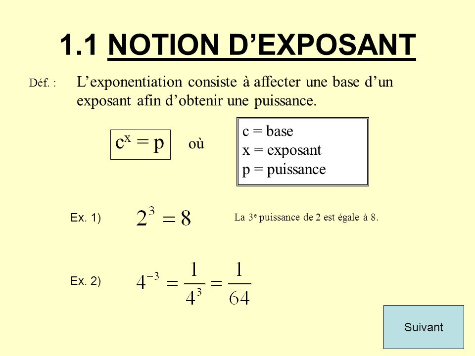 1.1 NOTION D'EXPOSANT cx = p où c = base x = exposant p = puissance