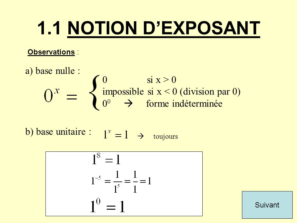{ 1.1 NOTION D'EXPOSANT a) base nulle : 0 si x > 0