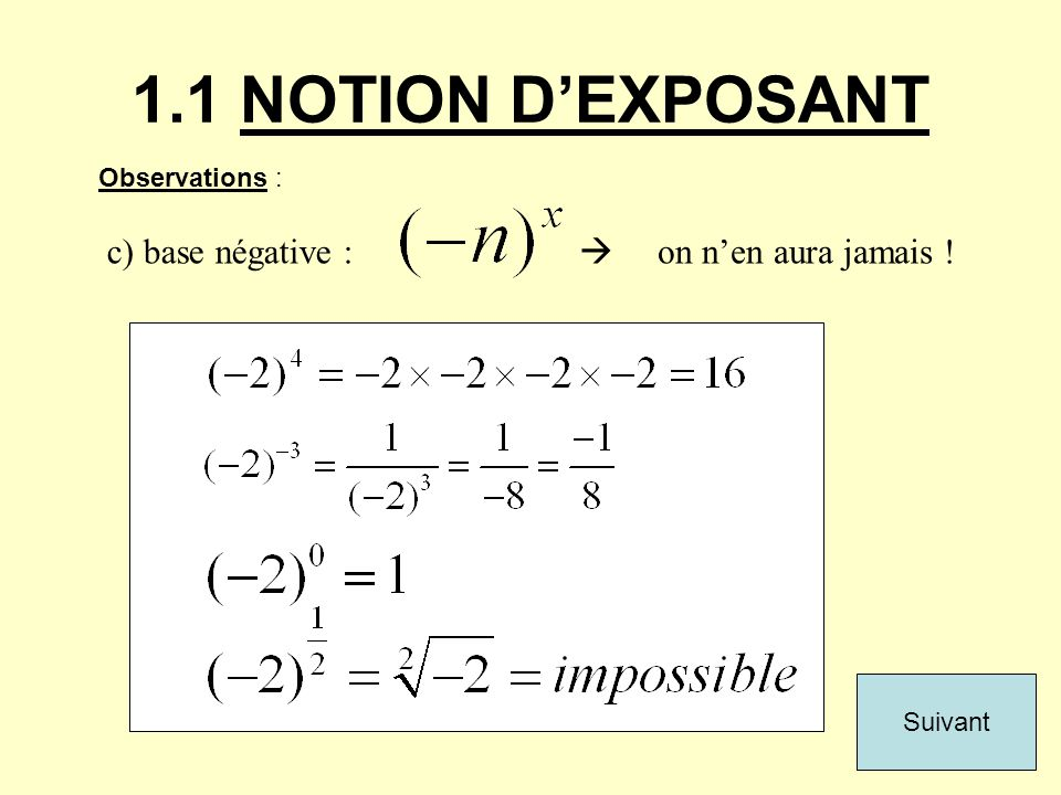 1.1 NOTION D'EXPOSANT c) base négative : Observations : Suivant