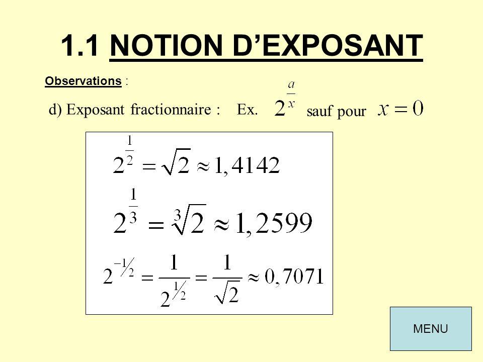 1.1 NOTION D'EXPOSANT d) Exposant fractionnaire : Ex. sauf pour