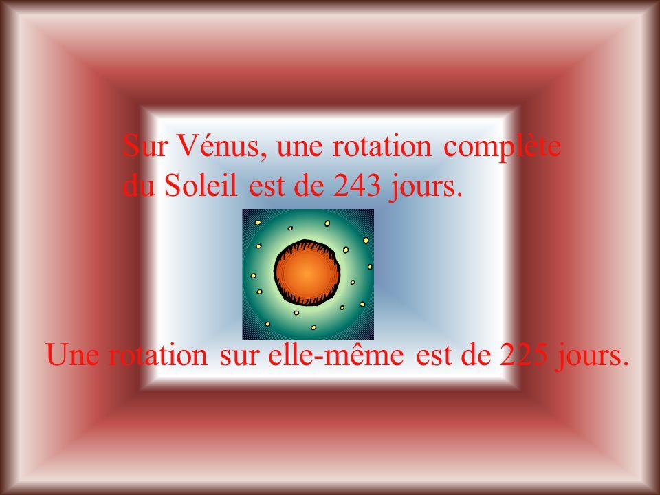 Sur Vénus, une rotation complète du Soleil est de 243 jours.