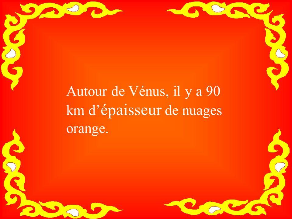 Autour de Vénus, il y a 90 km d'épaisseur de nuages orange.