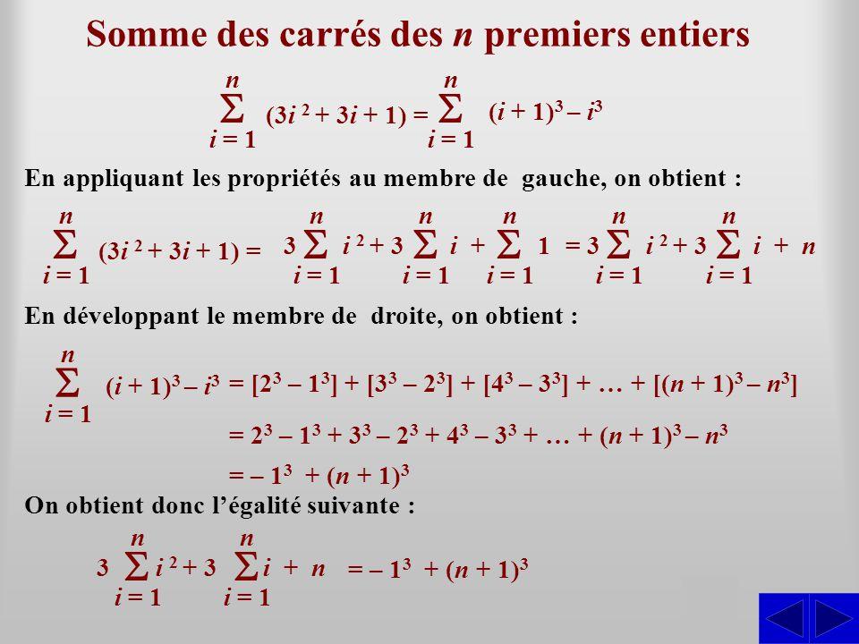 Somme des carrés des n premiers entiers