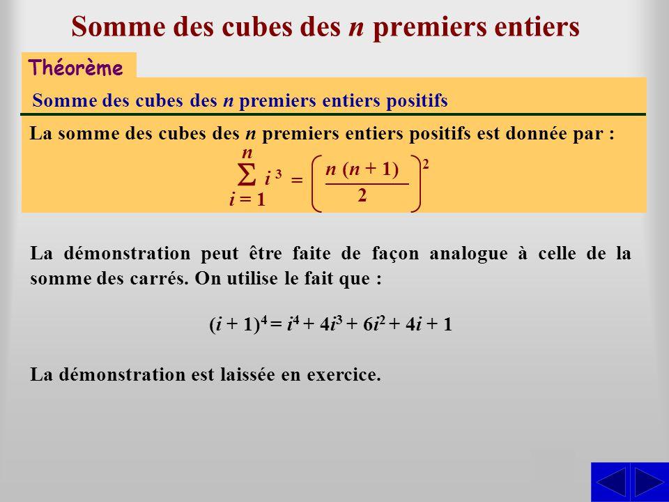 Somme des cubes des n premiers entiers