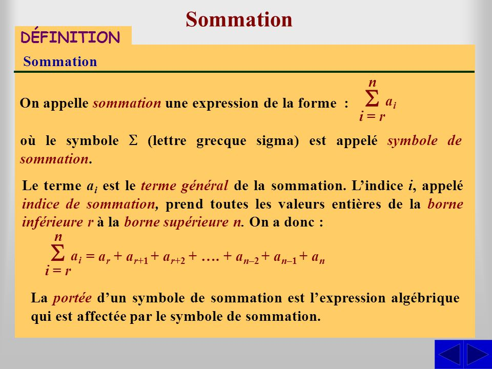 S S Sommation DÉFINITION Sommation n ai