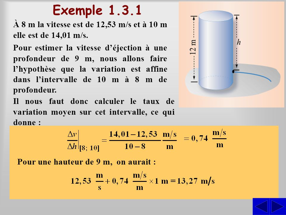 Exemple 1.3.1 À 8 m la vitesse est de 12,53 m/s et à 10 m elle est de 14,01 m/s.