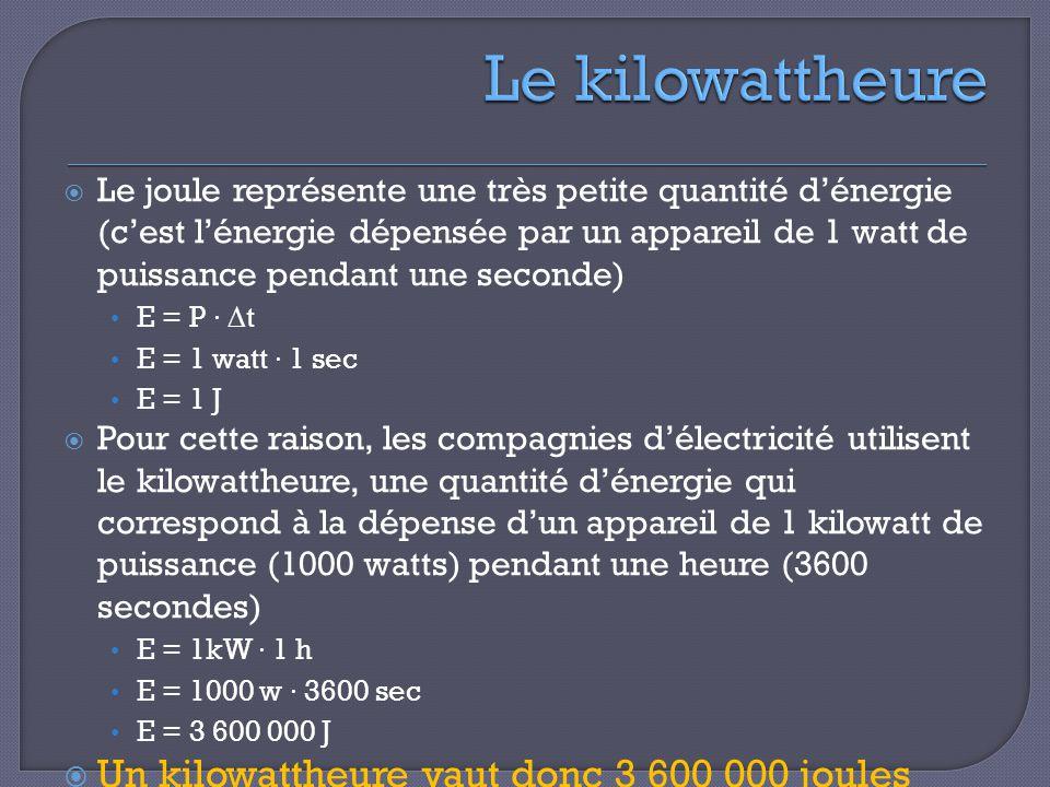 Le kilowattheure Un kilowattheure vaut donc 3 600 000 joules