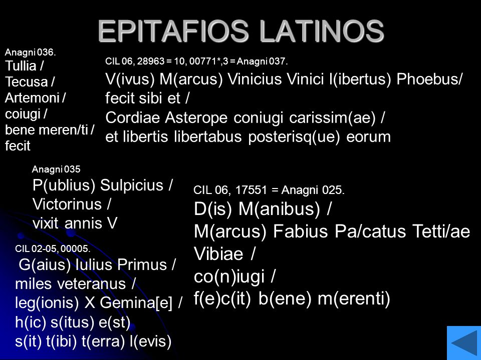 EPITAFIOS LATINOS D(is) M(anibus) /