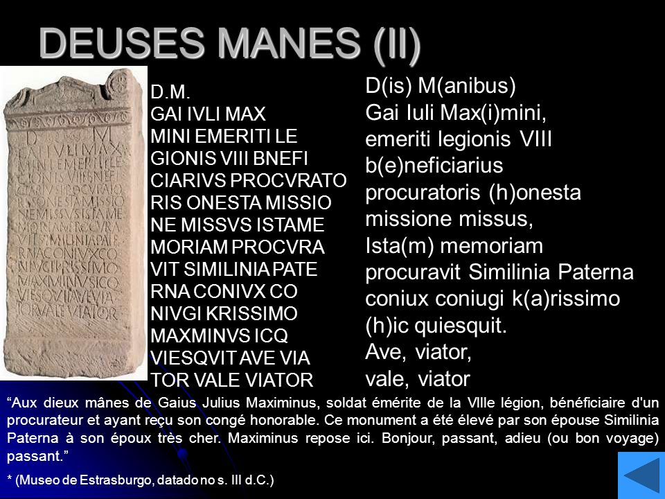DEUSES MANES (II) D(is) M(anibus) Gai Iuli Max(i)mini,