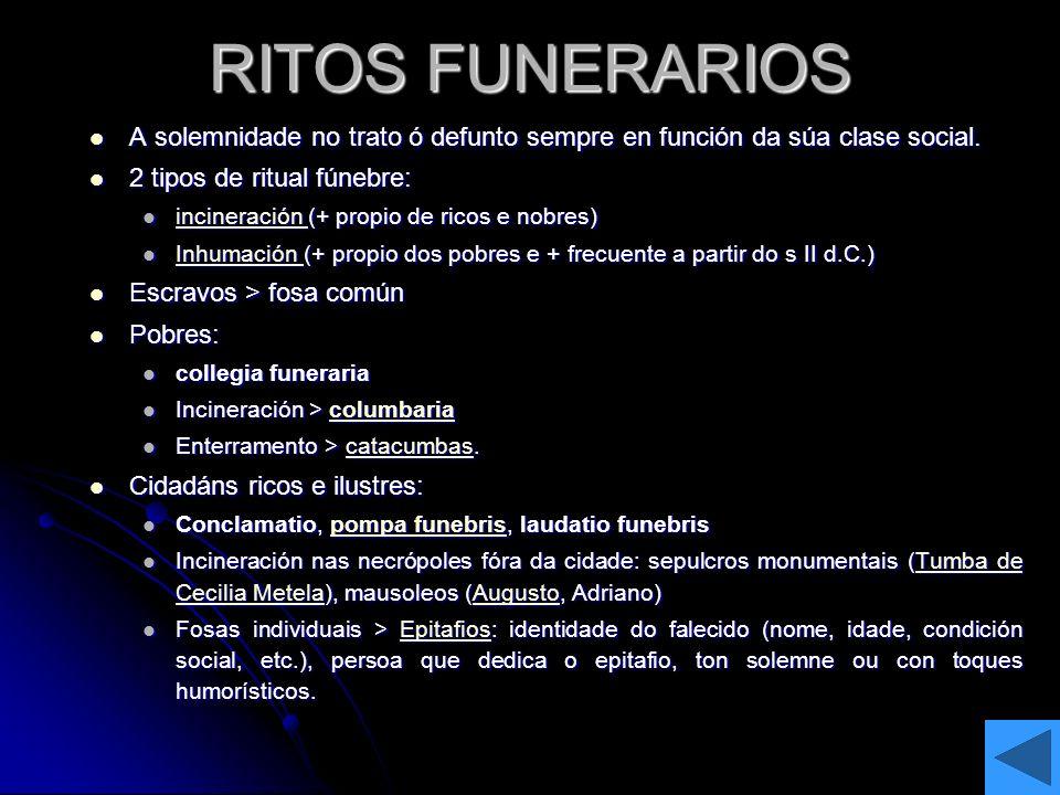 RITOS FUNERARIOS A solemnidade no trato ó defunto sempre en función da súa clase social. 2 tipos de ritual fúnebre: