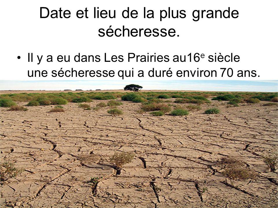 Date et lieu de la plus grande sécheresse.